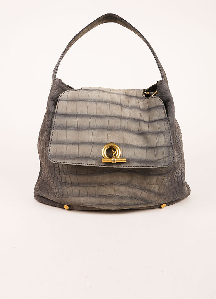"Yves Saint Laurent Grey and Gold Toned Crocodile Embossed Leather ""Capri"" Hobo Bag Frontview"