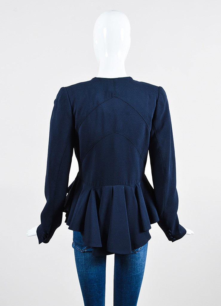 Navy Zac Posen Crepe Tiered Ruffle Peplum Blazer Jacket Backview