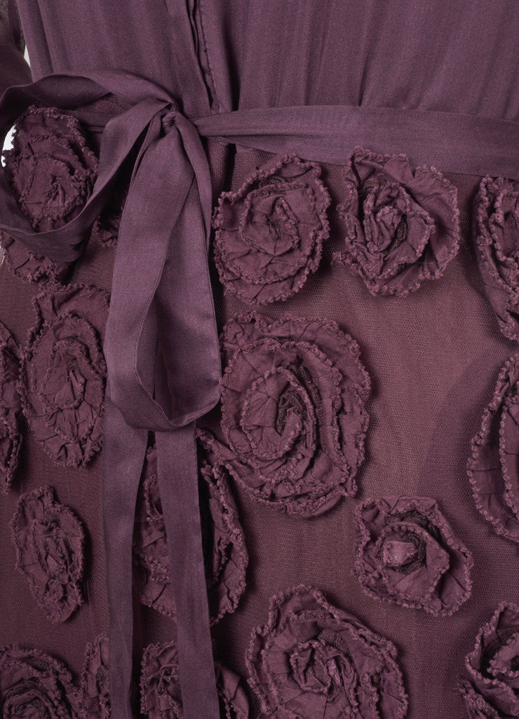 New With Tags Purple Silk Rosette Dress