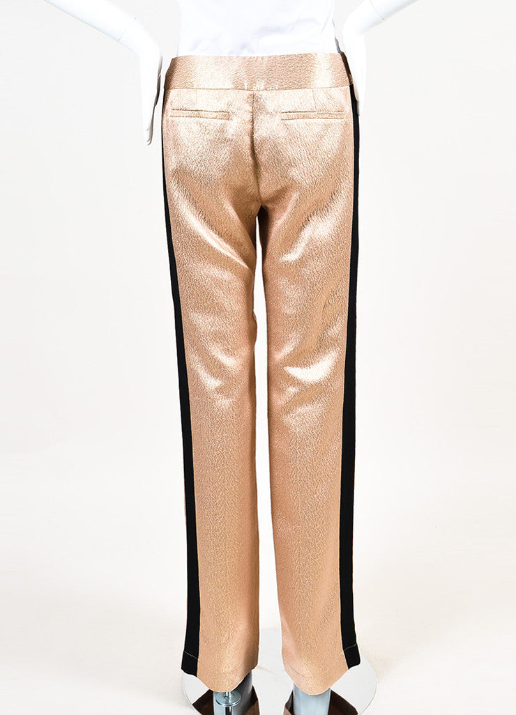 10 Crosby Derek Lam Nude and Metallic Gold Black Straight Leg Trousers Backview