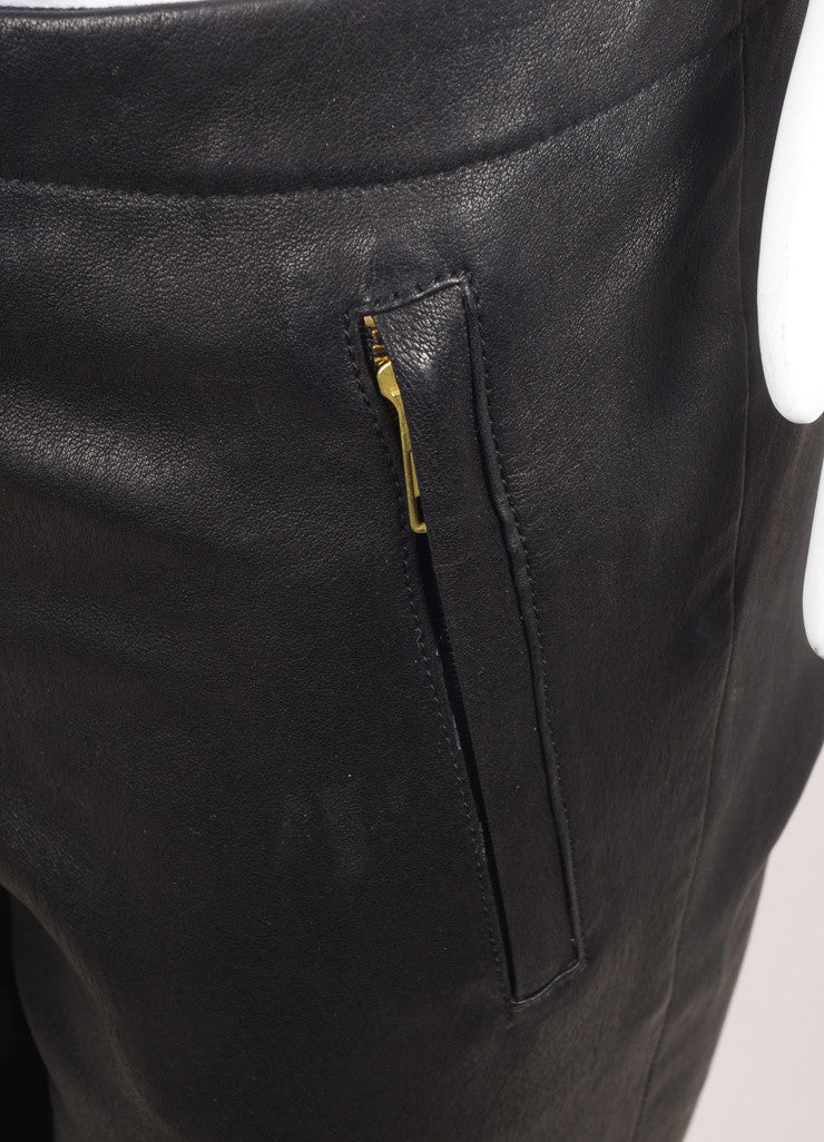 A.L.C. New With Tags Black Leather Zip Skinny Pants Detail