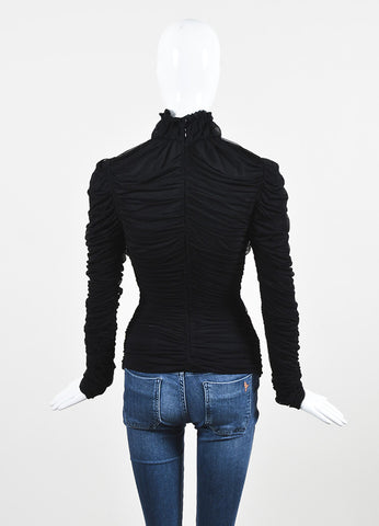 Alexander McQueen Black Silk Combo Semi Sheer Gathered and Ruched Top Backview