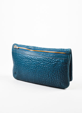 Dark Teal Blue Alexander Wang Pebble Leather Zip Foldover Clutch Bag Backview