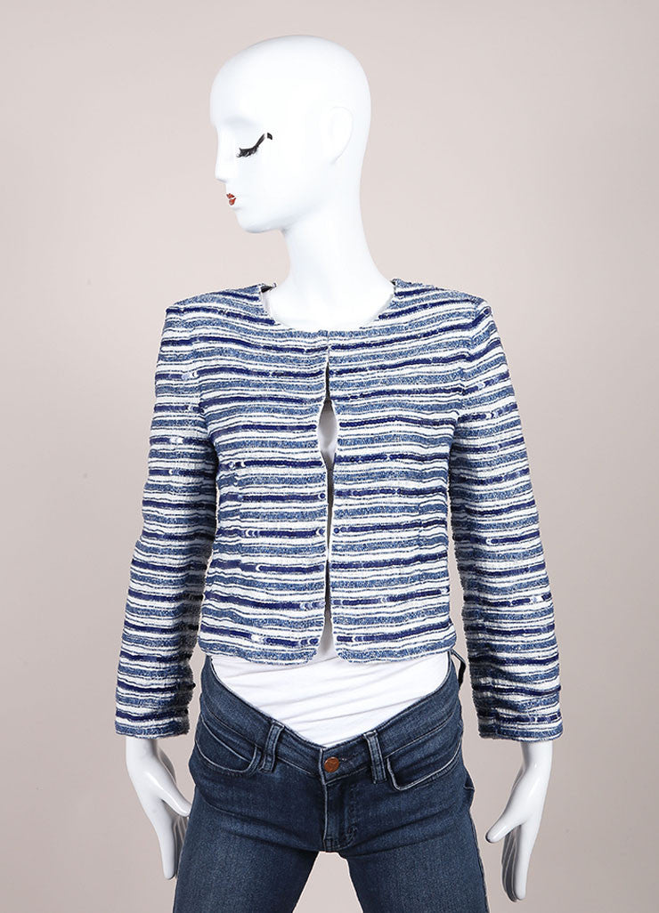 Alice + Olivia White and Blue Woven Sequin Beaded Embellished Blazer Jacket Frontview