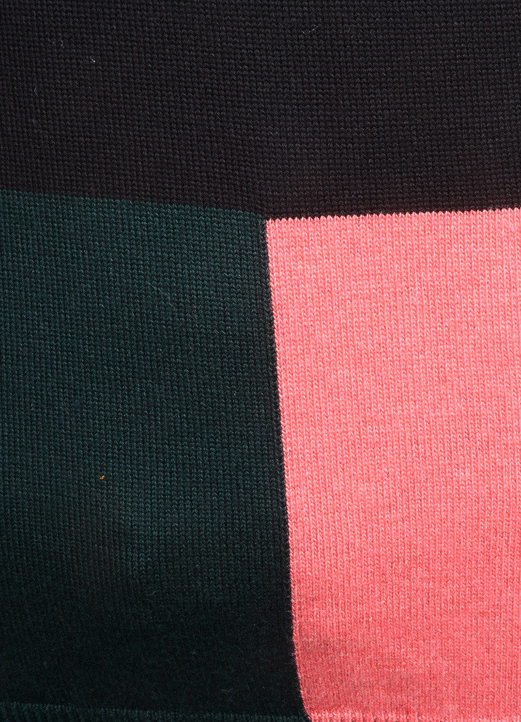 Altuzarra New With Tags Black, Pink, and Green Wool Sleeveless Turtleneck Top Detail