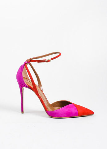 Red and Pink Aquazzura Suede Color Block Ankle Strap Pointed Pumps Sideview