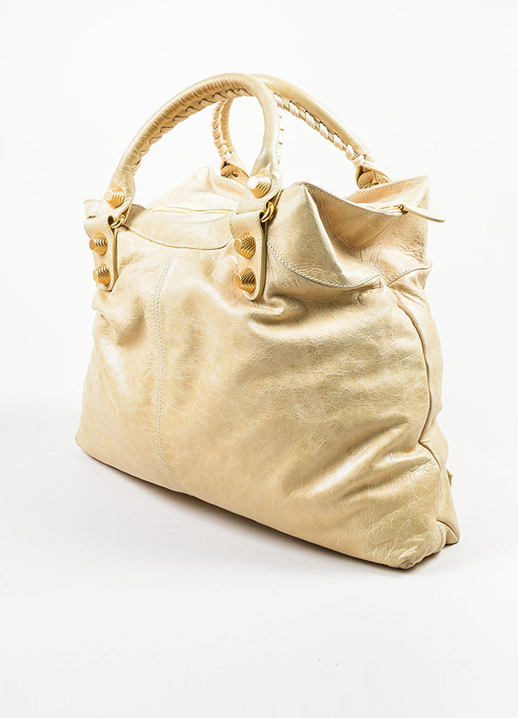 "Beige Gold Toned Stud Balenciaga ""Motocross Giant Brief"" Oversized Purse Bag Sideview"