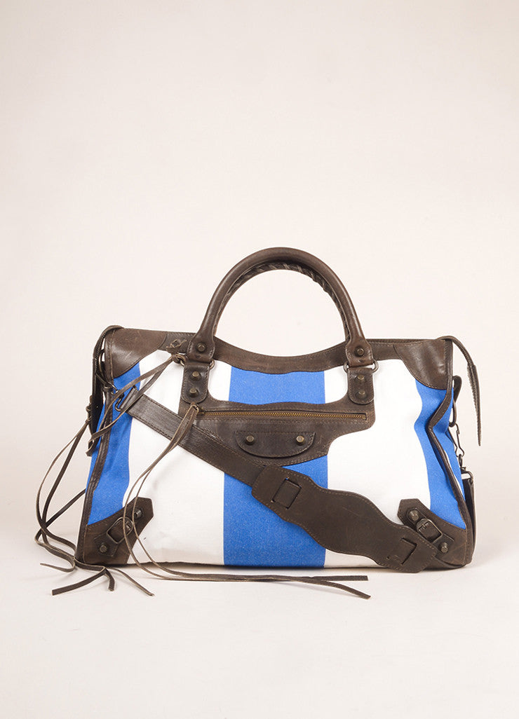"Balenciaga Blue, White, and Brown Canvas and Leather Stripe ""City"" Bag Frontview"
