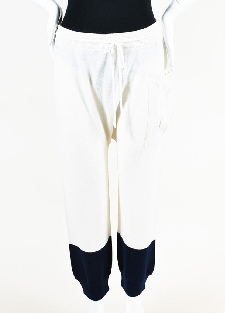 Barrie Cream and Navy Cashmere Embroidered Drop Crotch Joggers Frontview