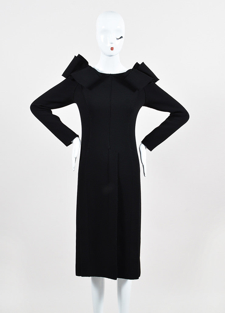 Bottega Veneta Black Crepe Off Shoulder Ruffle Detail Long Sleeve Sheath Dress Frontview