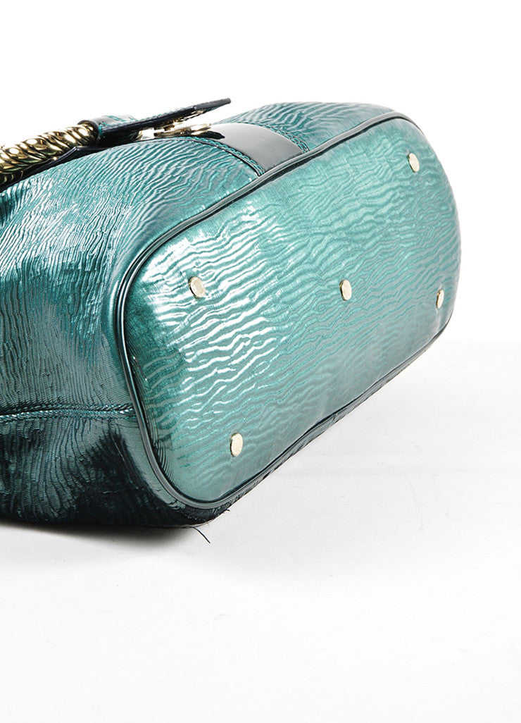 "Bulgari Green Patent Leather Ombre Textured Laser Cut ""Leoni"" Shoulder Bag Bottom View"
