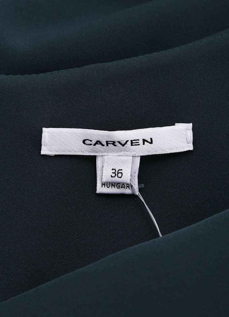 Carven Dark Teal Cuffed Off Shoulder Quarter Sleeve Dress Brand