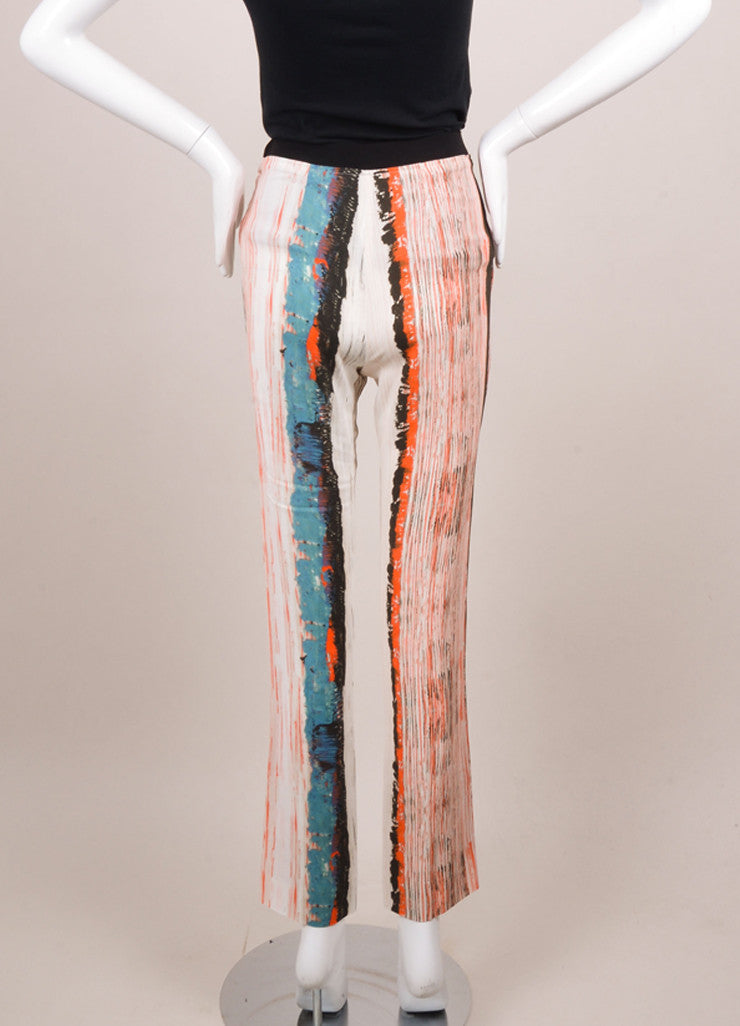 Cedric Charlier New With Tags Orange, Blue, and White Stripe Print Skinny Pants Backview