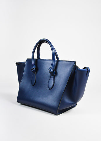 "Celine Navy Blue GHW ""Small Tie Tote"" Leather Handbag angle"