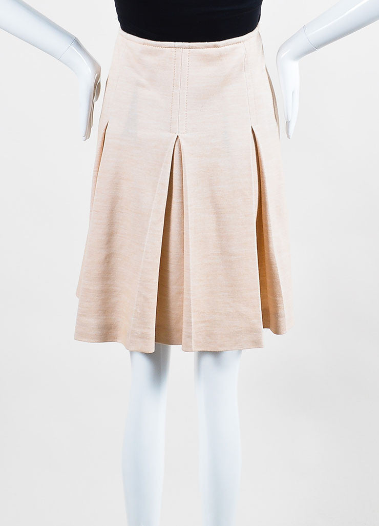 Celine Beige Khaki Tan Cotton Wool Knit Leather Accent Pleated Skirt Frontview