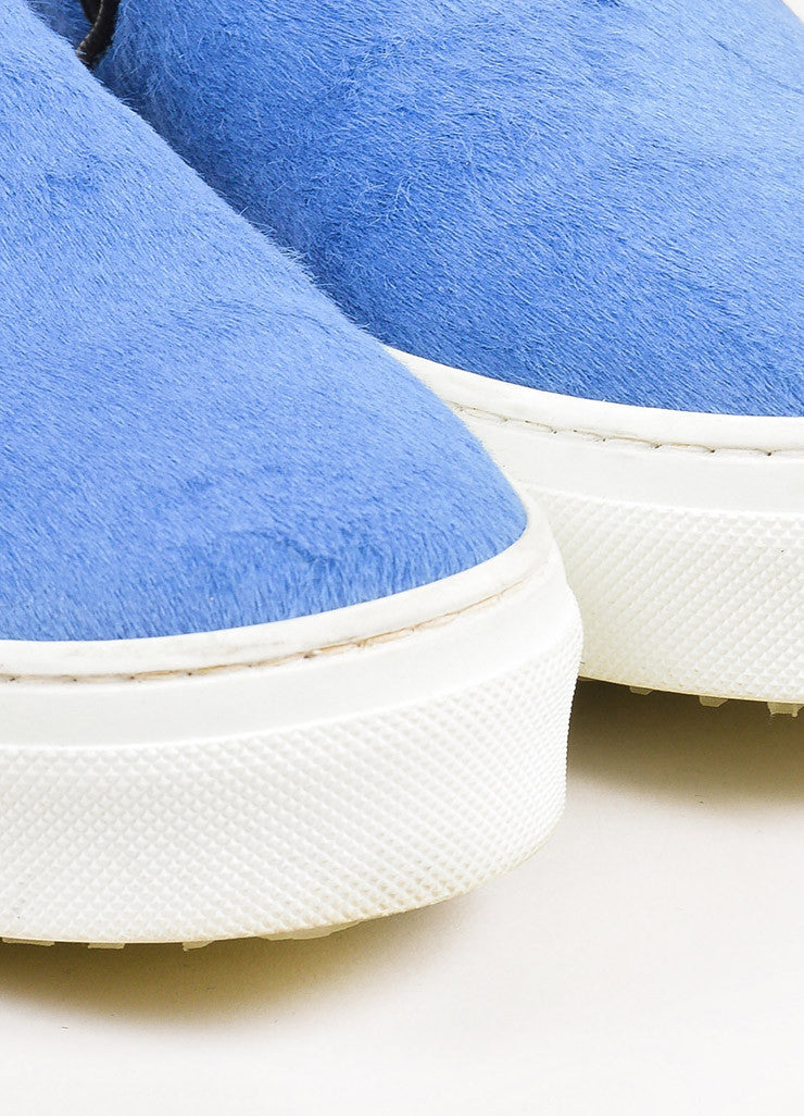 Celine Blue, Black, and White Pony Hair Flatform Slip On Sneakers Detail