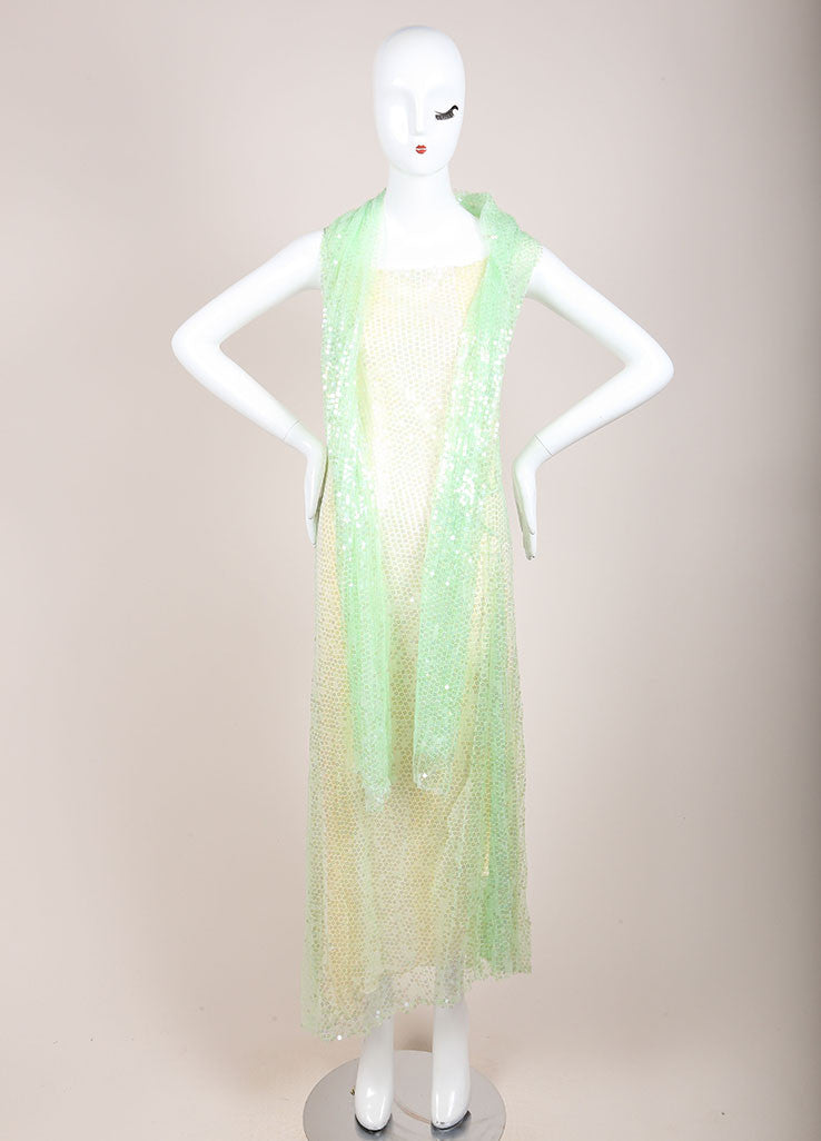 Chanel Green and Yellow Silk Sequin Embellished Shawl Detail Dress Frontview