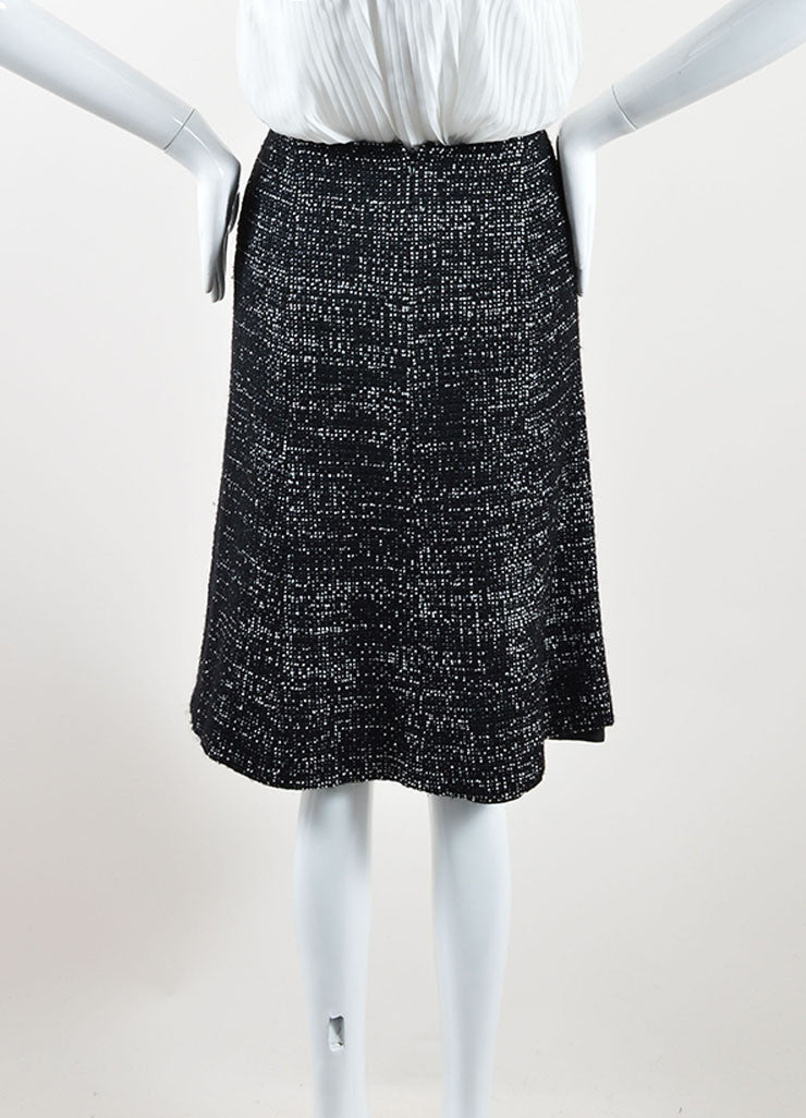 Chanel Black and White Wool Blend Tweed A-Line Skirt Back