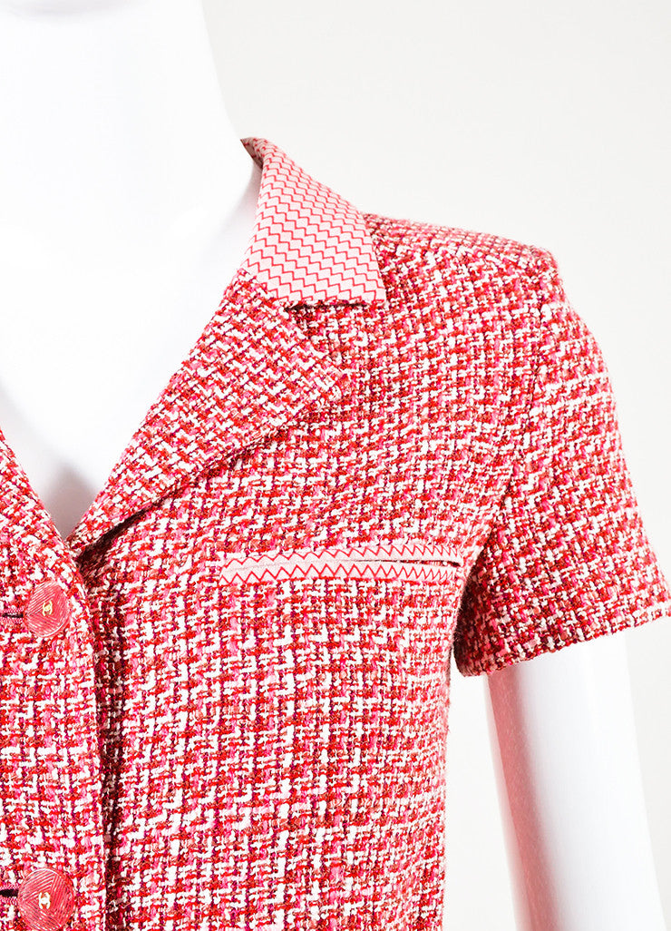 Chanel Pink Red Tweed Chevron Trim Short Sleeve Belted Jacket Detail