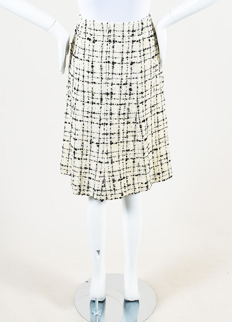 Chanel  Cream Black Check Tweed Textured Sequin A-Line Skirt  Backview