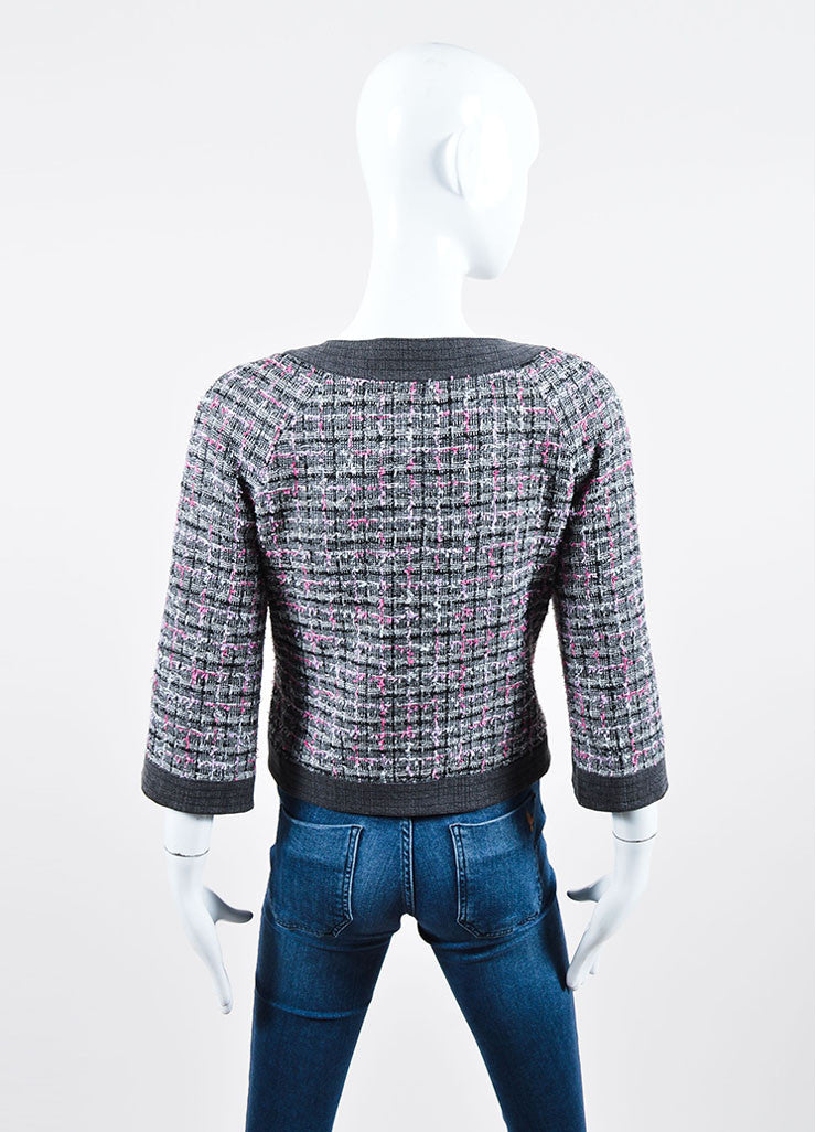 Grey and Pink Chanel 07P Tweed Knit Cropped Jacket Back