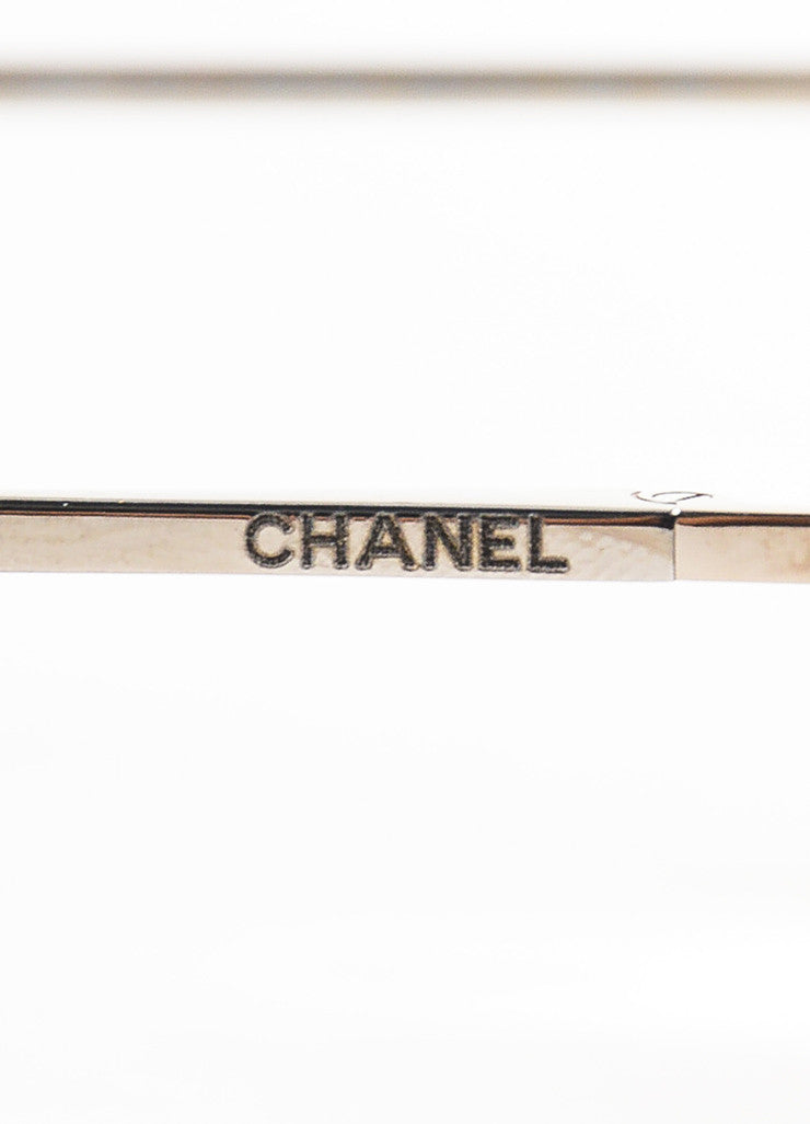 "Chanel Pink and Silver Toned Titanium ""Pilot Signature"" Mirrored Sunglasses Brand"