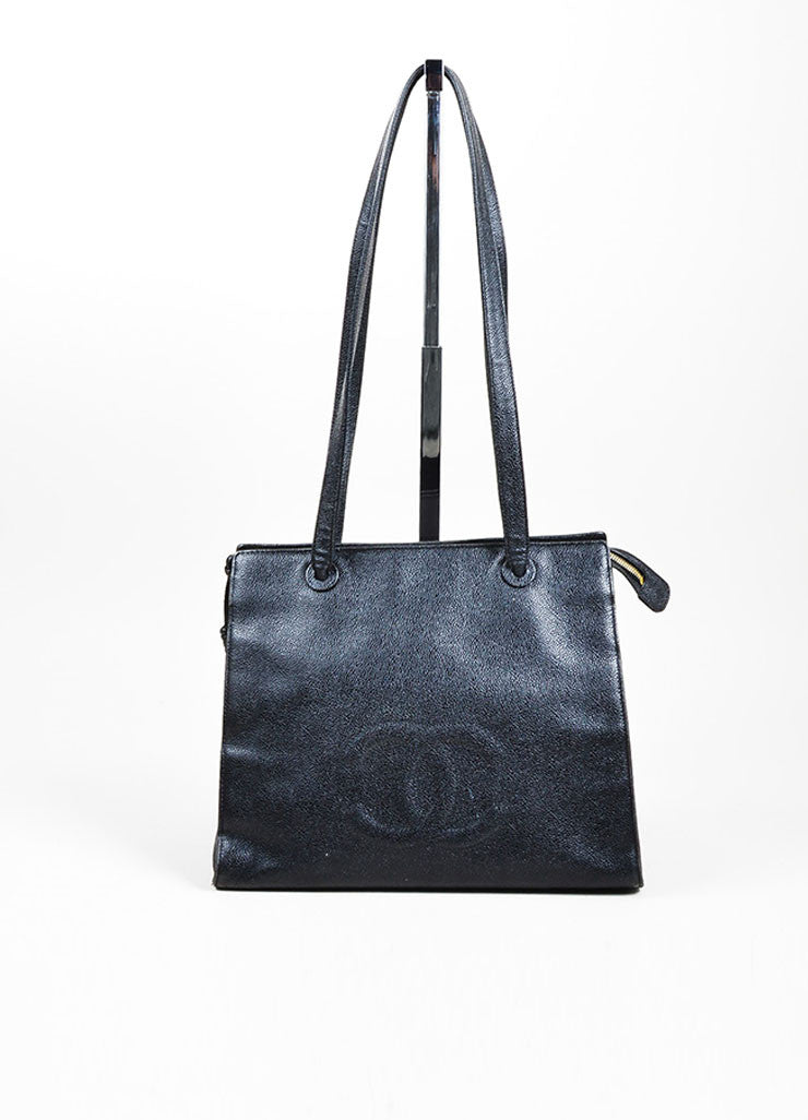 "Black Chanel Caviar Leather 'CC' ""Marron Fonce"" Tote Bag Frontview"