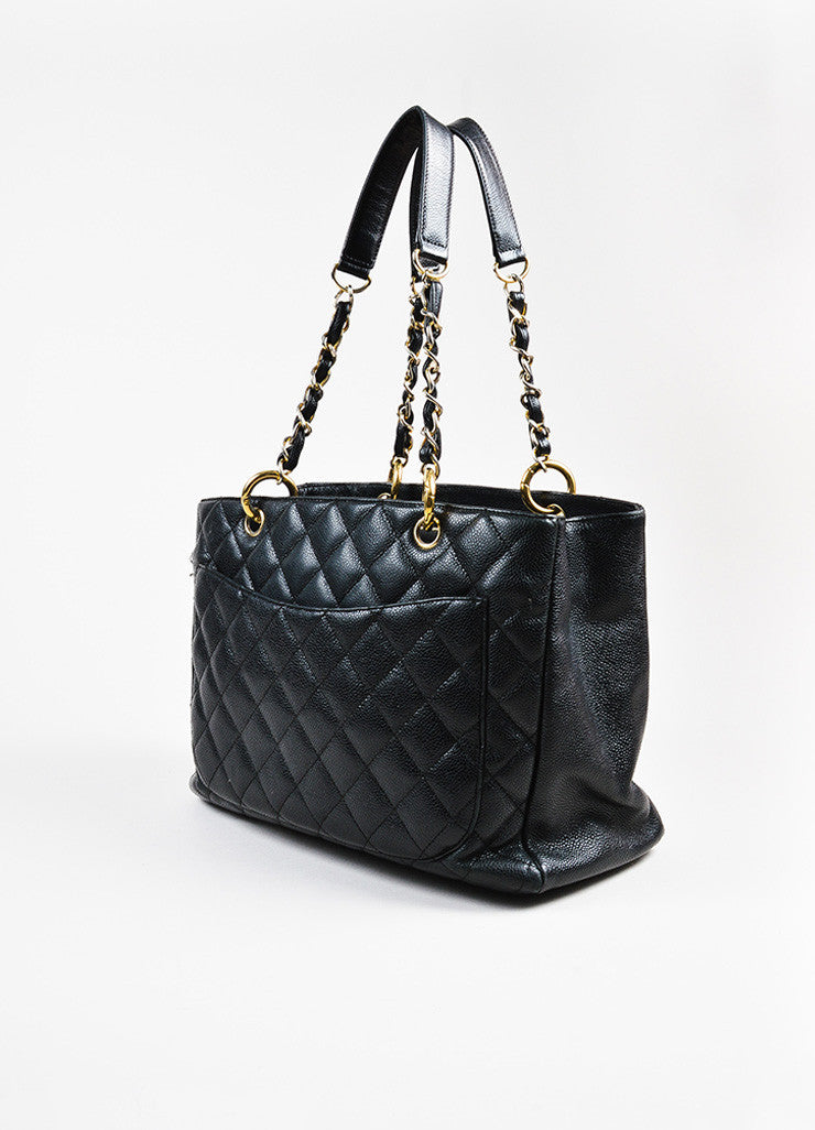 "Black Chanel Caviar Leather Quilted Chain Strap ""Grand Shopping"" Tote Side"
