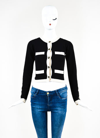 Chanel Black and Cream Cashmere 'CC' Button Cardigan Sweater Frontview 2