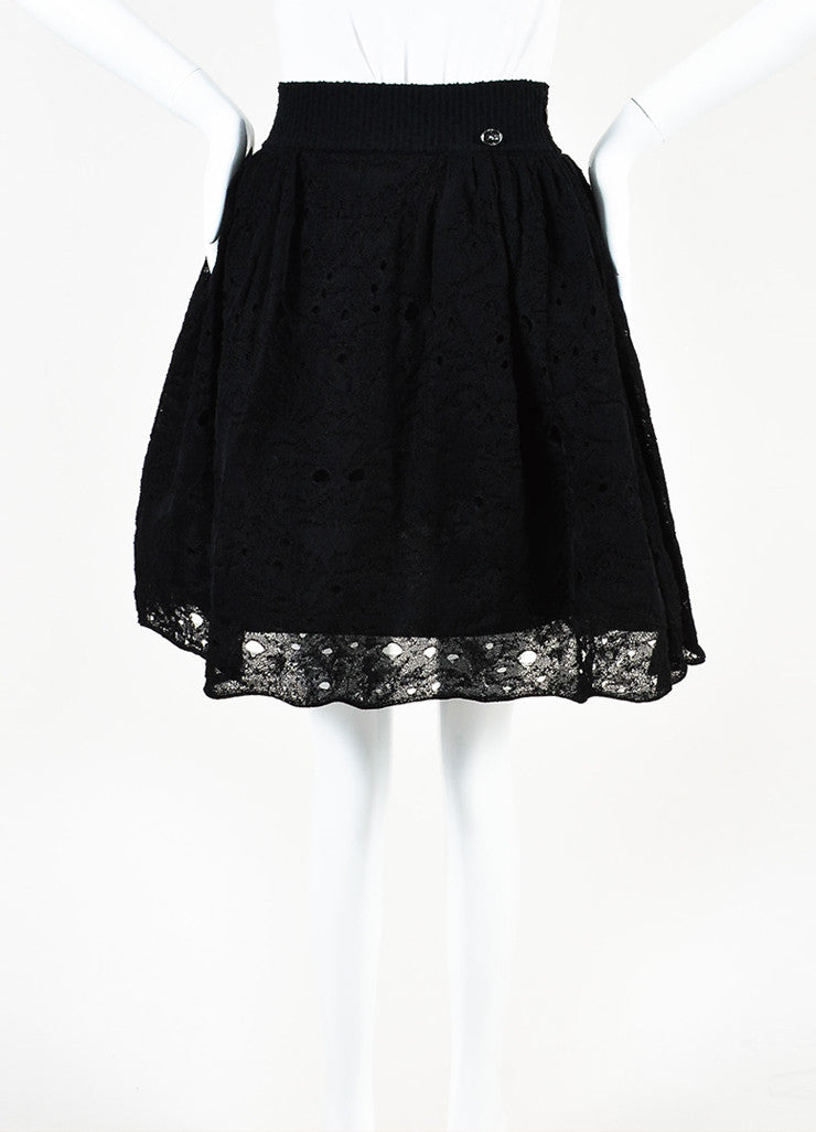 Chanel Black Lace Knit Pleated Flared Skirt Frontview