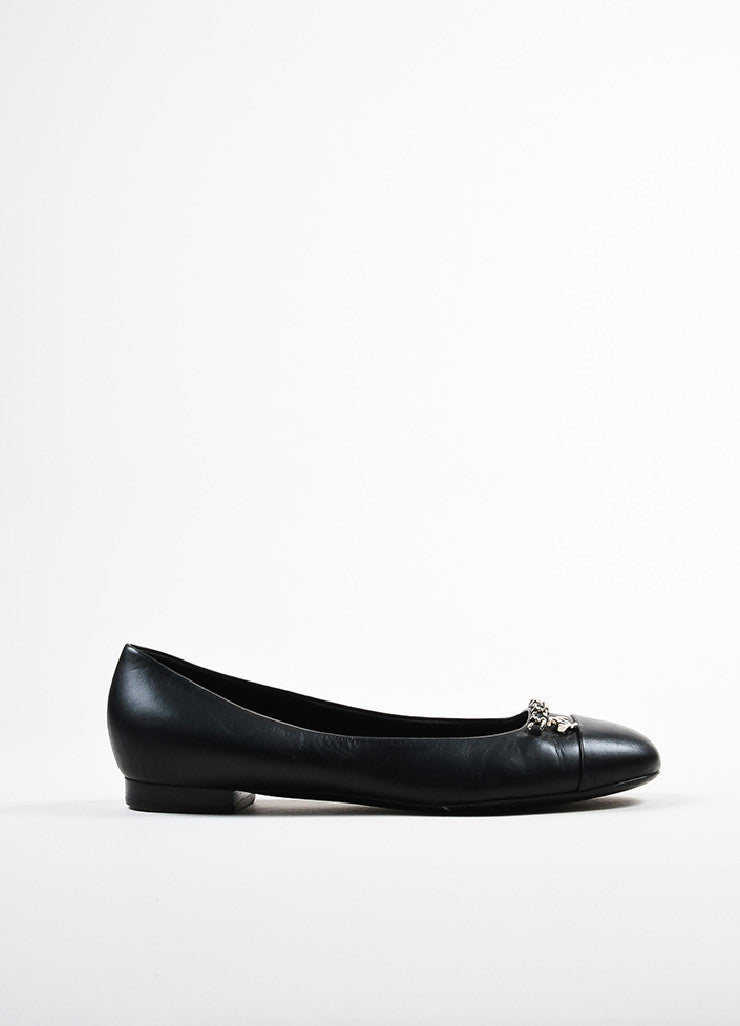 Black Leather Chanel Silver Toned Chain 'CC' Logo Flats Sideview