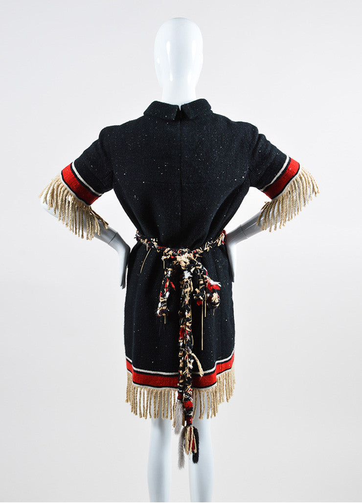 Black and Multicolor Chanel Cashmere and Silk Stripe Fringe Belted Shift Dress Backview