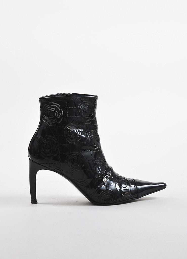 Chanel Black Patent Leather Laser Cut Camellia Flower Short Boots sideview