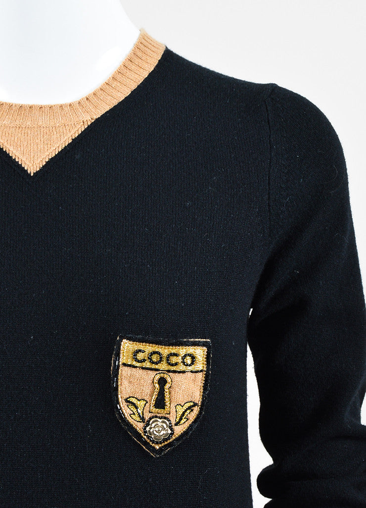 Black and Tan Chanel Cashmere Color Block Embellished Patch Sweater Detail