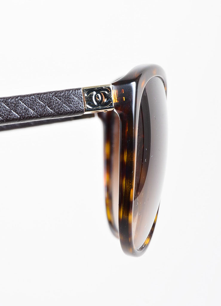 "Brown and Black Chanel Tortoise Quilted Arm ""CC"" Cat Eye Oversized Sunglasses Detail"