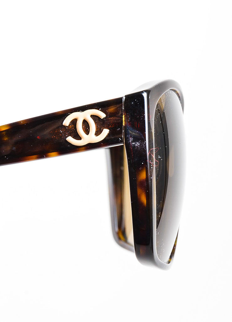 "Brown Chanel Tortoise Shell 'CC' Oversized ""5230"" Square Sunglasses Detail"