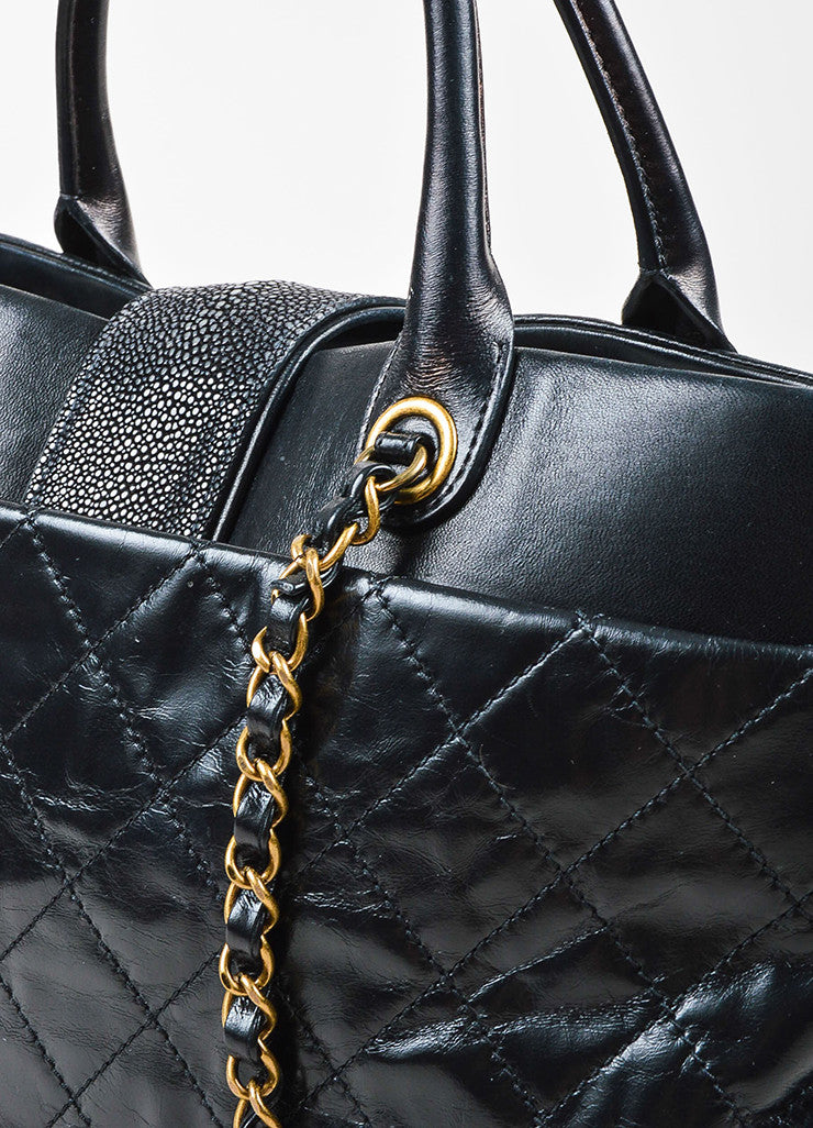 "Chanel Black Calfskin and Stingray Quilted ""Bindi"" Tote Bag Detail 2"