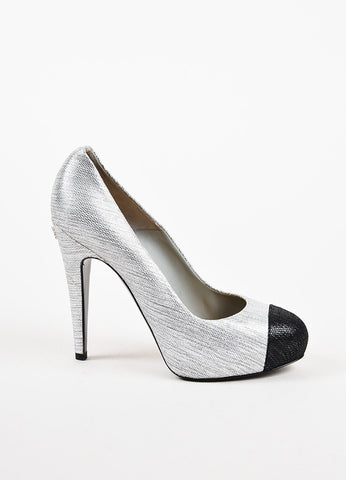 Chanel Silver Metallic Black Textured Cap Toe Platform Pump Heels Sideview