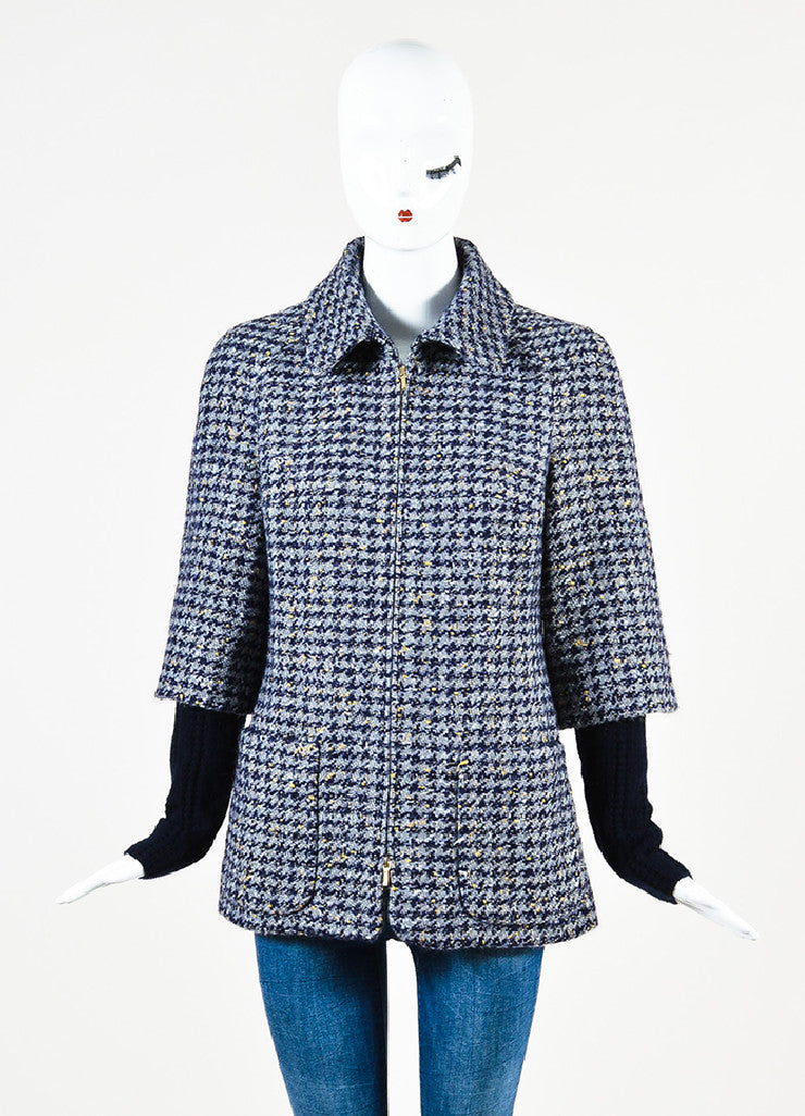Chanel Navy Wool Silver & Gold Metallic Trim Houndstooth Collared Coat front closed