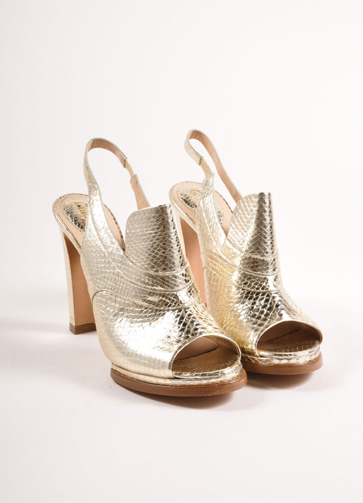 Chloe Metallic Gold Snakeskin Embossed Leather Loafer Pumps Frontview