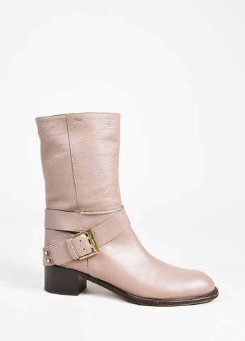 Chloe Taupe Pebbled Leather GHW Buckled Mid Calf Boots Sideview