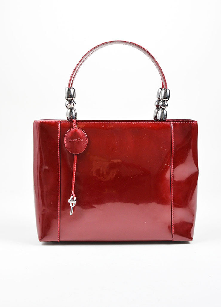 "Christian Dior Maroon Patent Leather ""Malice"" Tote Bag With Shoulder Strap Front"