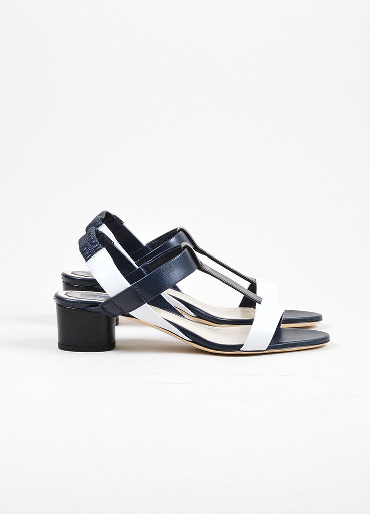 "Tricolor Christian Dior Leather Heeled T Strap ""Pulse"" Sandals Sideview"
