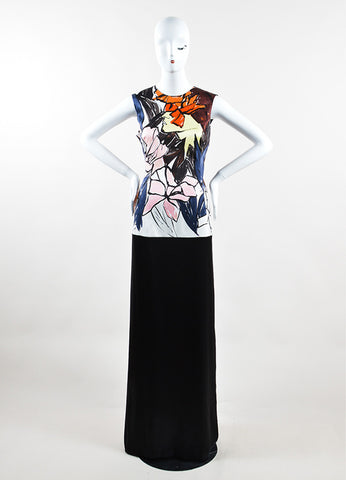 Christian Dior Black and Multicolor Silk Abstract Floral Print Gown Frontview