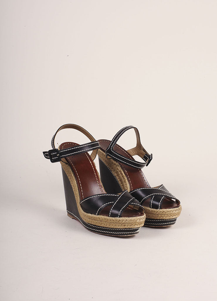 Christian Louboutin Black Leather Espadrille Wedge Sandals Frontview