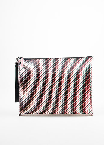 "Christian Louboutin Black PVC and Leather Shoe Print ""Peter Pouch"" Clutch Bag Frontview"