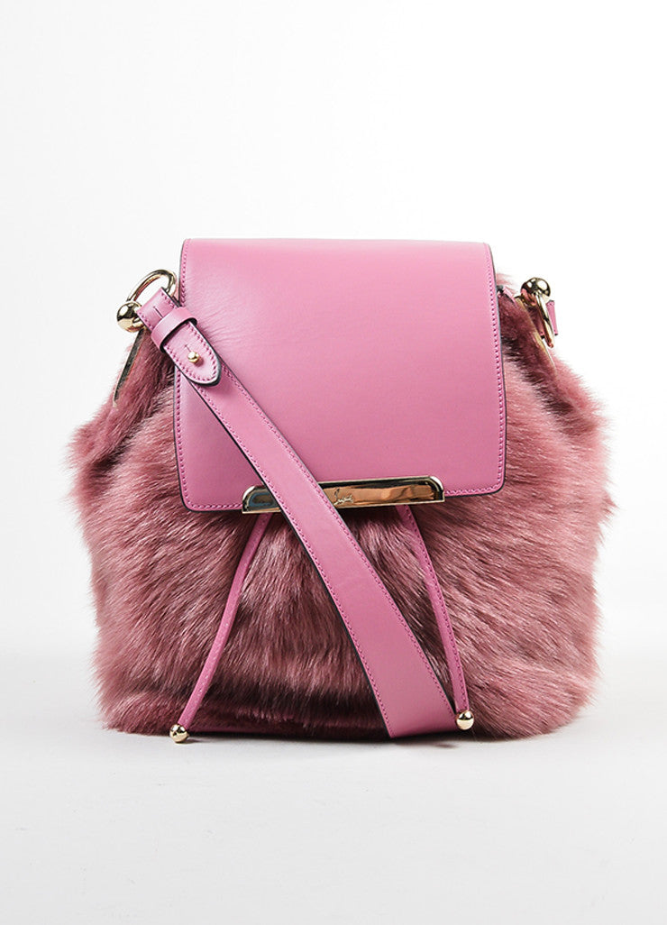 "Rose ‰ۢÌöÌÛChristian Louboutin Leather and Faux Fur ""Lucky L"" Bucket Backpack Frontview"