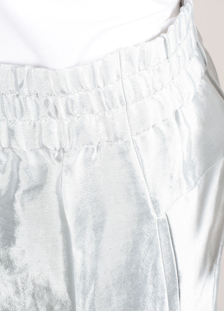 "Christian Wijnants New With Tags Silver Metallic Linen Blend ""Piet"" Pants Detail"
