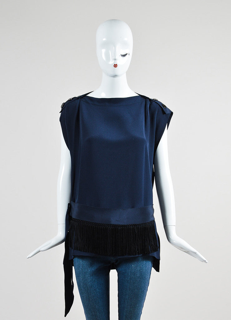 Navy Blue Derek Lam Silk Fringe Belted Button Shoulder Sleeveless Tunic Frontview