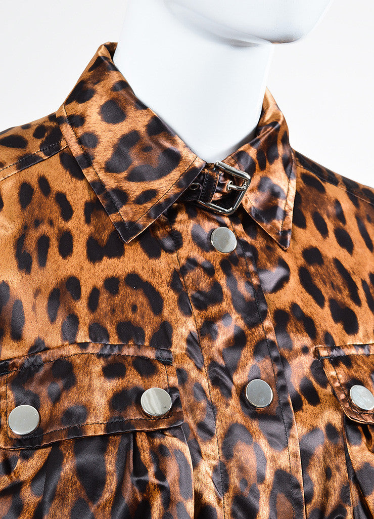 Multicolor Brown Dolce & Gabbana Leopard Print Belted Zip Nylon Jacket Detail